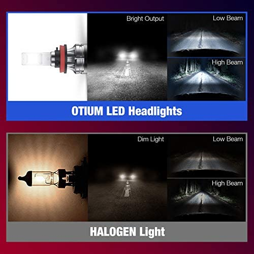 Otium H11/H8/H9 LED Headlight Bulbs, 6500K 12000 Lumens Super Bright CSP Chips Conversion Kits, High Low Beam/Fog Light, IP68 Waterproof, Cool White, 2 Pack