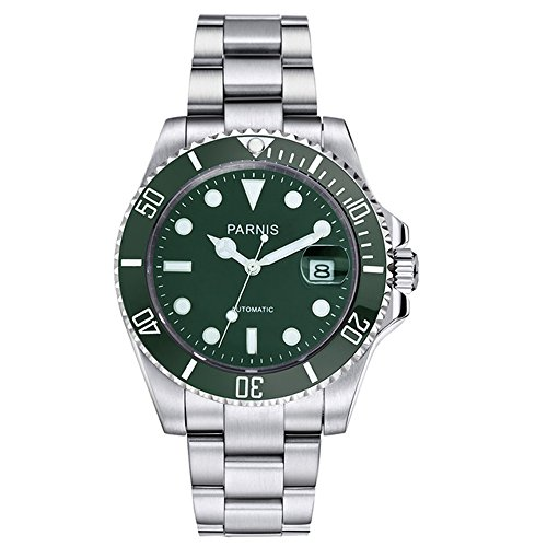 Automatic Movement Ceramic Bezel (Parnis 40mm submariner style green Ceramic Bezel green dial Automatic watch)