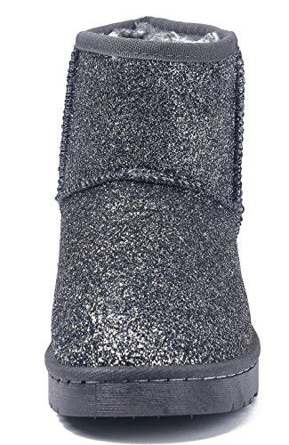 AgeeMi Shoes Mujeres Nieve Invierno Lentejuelas Bota Zapatos Clásicas Botines Gris