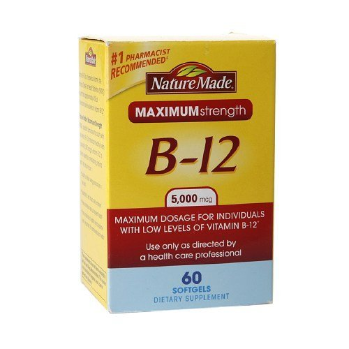 Nature Made Maximum Strength Vitamin B-12 5000mcg, Softgels 60 ea