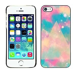 Azul Polígono Nubes Espacio Místico - Metal de aluminio y de plástico duro Caja del teléfono - Negro - iPhone 5 / 5S