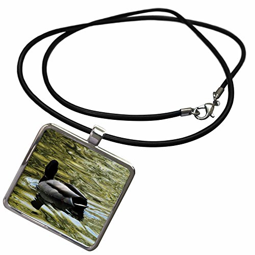 3dRose Krista Funk Creations Migratory Birds - Mallard Duck Swims Away - Necklace With Rectangle Pendant (ncl_18562_1)