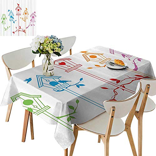 UHOO2018 Decorative Tablecloth SweBird Houses Nest with Flying Birds The Roof Branches Animal Square/Rectangle Kitchen Tablecloth Picnic Cloth,54 x102inch
