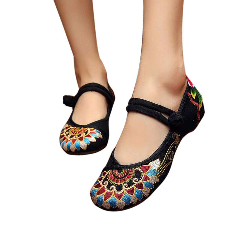 Embroidered Flats Shoes Women's Chinese Embroidery Ballet Slip on Comfortable Bohemia(7.5 B(M) US/CN39/24.5CM,Black)