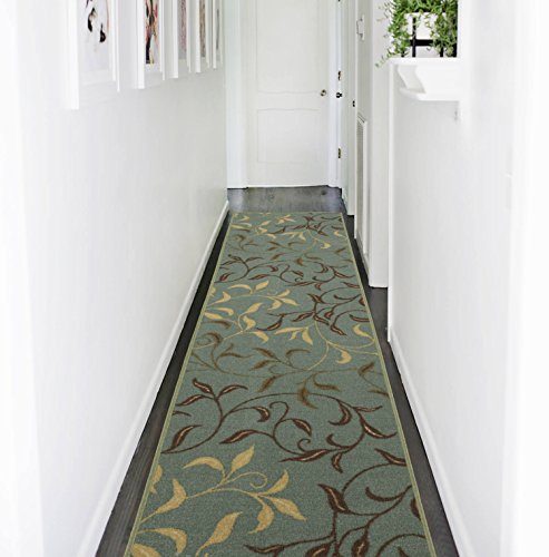 Ottomanson Otto Home Contemporary Leaves Design Modern Area Rug Hallway Runner, 2'7