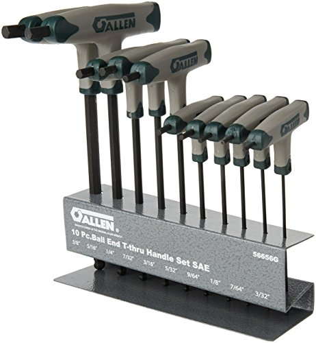 Allen 56656G SAE Ball-Plus T-Thru Handle Set, 10-Piece