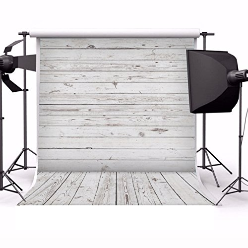 Yeele 8x10ft Gray White Wood Plank Photo Backdrops Vinyl Vintage Wooden Floor Wall Photography Background Party Pet Baby Girl Adult Photo Studio Shooting Props ()