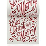 Linen Printed Cocktail Napkin - 4.5 x 4.5 in. - 50 units per roll -  Eat Drink Be Merry