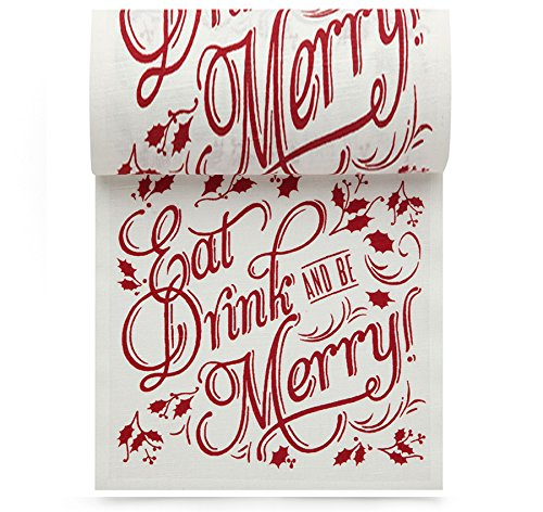Linen Printed Cocktail Napkin - 4.5 x 4.5 in. - 50 units per roll -  Eat Drink Be Merry by MYdrap