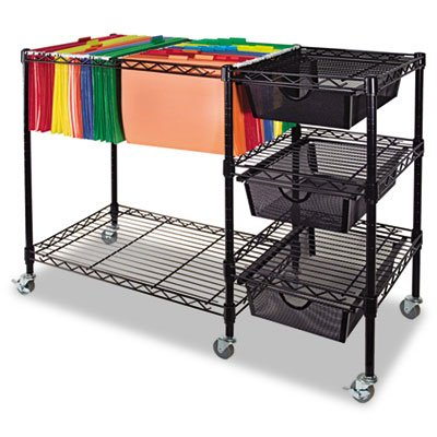 28h Cabinets (Mobile File Cart w/Drawers, 38w x 15-1/2d x 28h, Black, Sold as 1 Each)