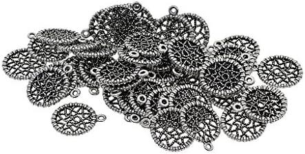 Hellery 約50個 チャーム ビーズ ドリームキャッチャー アンティークシルバー ペンダント 手作り材料 DIY 工芸品