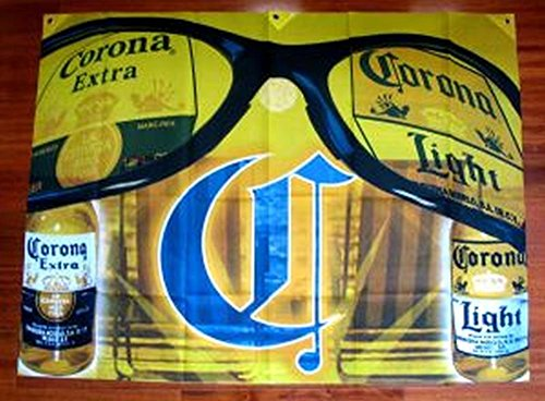 Corona Extra and Light Beer Sunglasses 4 X 3 Ft Polyester Banner