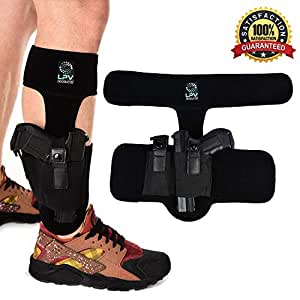 Gun Ankle Holster For Concealed Carry - Padded Leg Handgun Conceal Holster With Magazine/Knife Pouch - Universal Pistol Carrier For Glock 19 26 42 43, Ruger LCP, S&W Bodyguard & Sig Sauer Handguns
