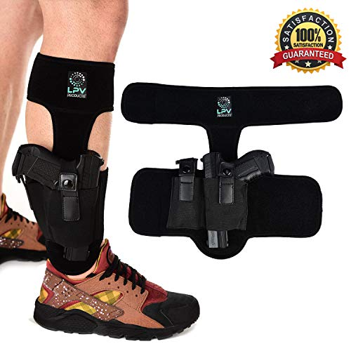 Ankle Gun Holster for Concealed Carry - Perfect for Glock 19 22 23 26 27 42 43, Ruger LCP 380, S&W M&P Bodyguard .380 & Sig Sauer P365 - Padded Handgun Conceal Holster with Magazine/Knife Pocket