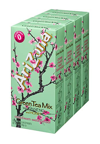 AriZona Sugar Free Green Tea with Ginseng & Honey Iced Tea Mix, 2 QT Packets (Pack of 4), Low Calorie Single Serving Drink Powder Packets, Just Add Water (Formerly Canister, Now in New Packaging) (Amazon Green Tea)