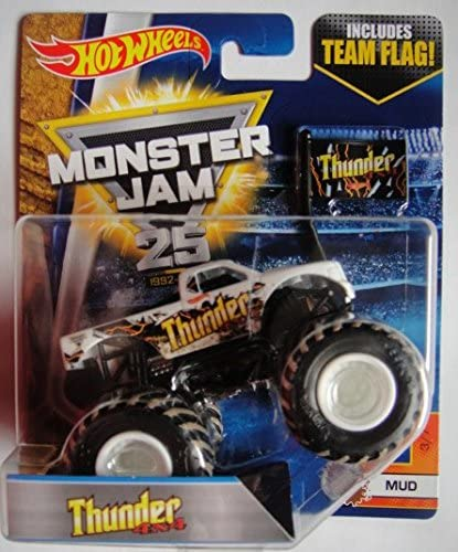 Amazon Com Hot Wheels Monster Jam 1 64 Scale White Thunder 4x4 Includes Team Flag Mud 3 7 Toys Games
