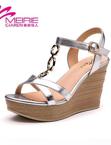 ShangYi MeiRie'S Women's Shoes Patent Leather Wedge Heel Wedges/Heels/Open Toe Sandals Silver yZNm994W