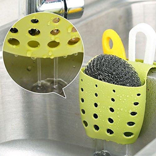 YANGYULU Silicone Sponge Holder Kitchen Bath Sink Double Side Hanging Storage Basket (Green)
