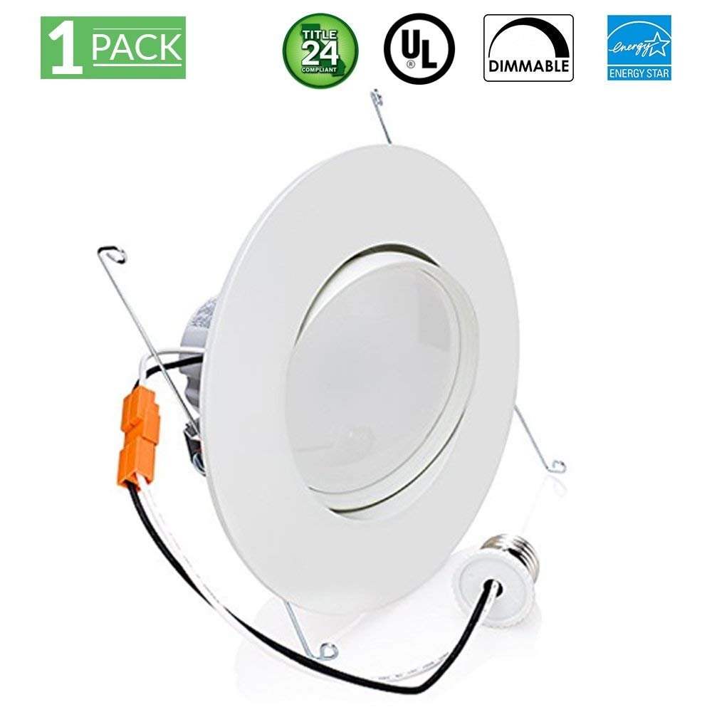 Sunco Lighting 12W 6inch Directional Adjustable Gimbal Dimmable LED Retrofit Recessed Lighting Fixture (=60W) Energy Star, UL, LED Ceiling Light 800 Lumens (2700K - Soft White)