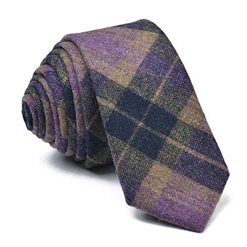 Tweed Purple - VOBOOM Mens Necktie Skinny Tie Tweed Pattern Woolen Neck Tie-many colors (016)