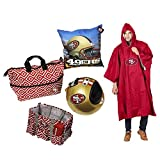 San Fransisco 49ers Fan Bundle - Helmet Heater Poncho Pillow and Two Travel Bag 25 X 9 X 15 Inches