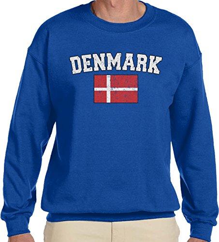 - Amdesco Men's Danish Flag, Flag of Denmark Crewneck Sweatshirt, Royal Blue Small