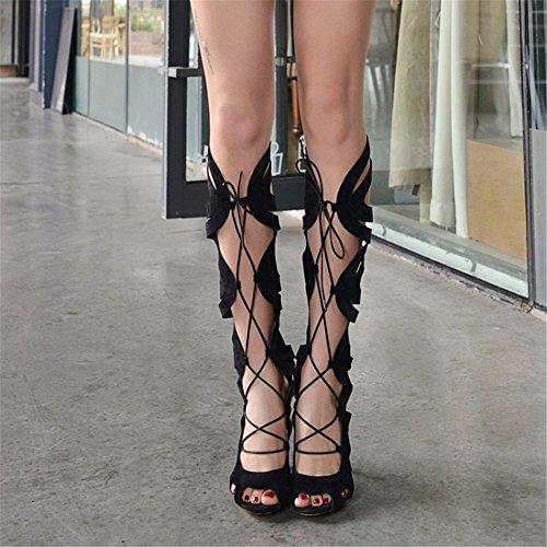 Cordones Gamuza Zapatos Canister De Tamaño Botas Altos Up Lace Black Del Mate Tacones OYp1wnXxq