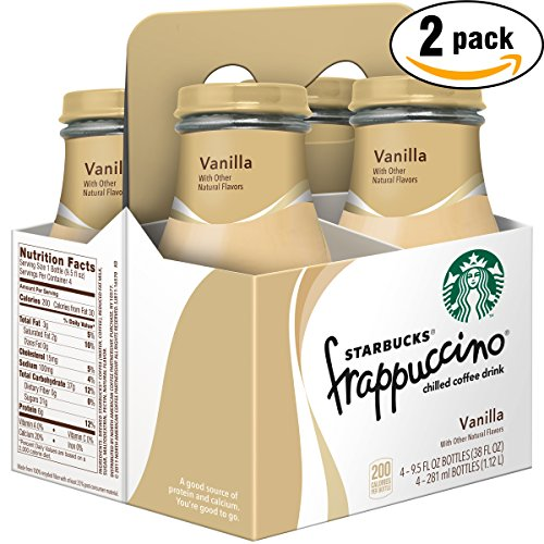 Starbucks Frappuccino Vanilla Chilled Coffee Drink, 9.5 Glass Bottle (Pack of 4 x2, Total of 76 Oz)