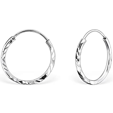 177394655 The Goldmine - Genuine 925 Sterling Silver Small 14mm Hinged Sleeper  Diamond Cut Hook Earrings incl. free Presentation Box and FREE UK delivery:  ...