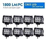 LITE-WAY 8Pcs 18W 4Inch Spot LED Light Bar CREE LED Pod Fog Lights Square Cube Jeep Driving Work Lamp for Offroad Truck 4WD SUV ATV UTV Daytime Running Light Waterproof, 1 Year Warranty