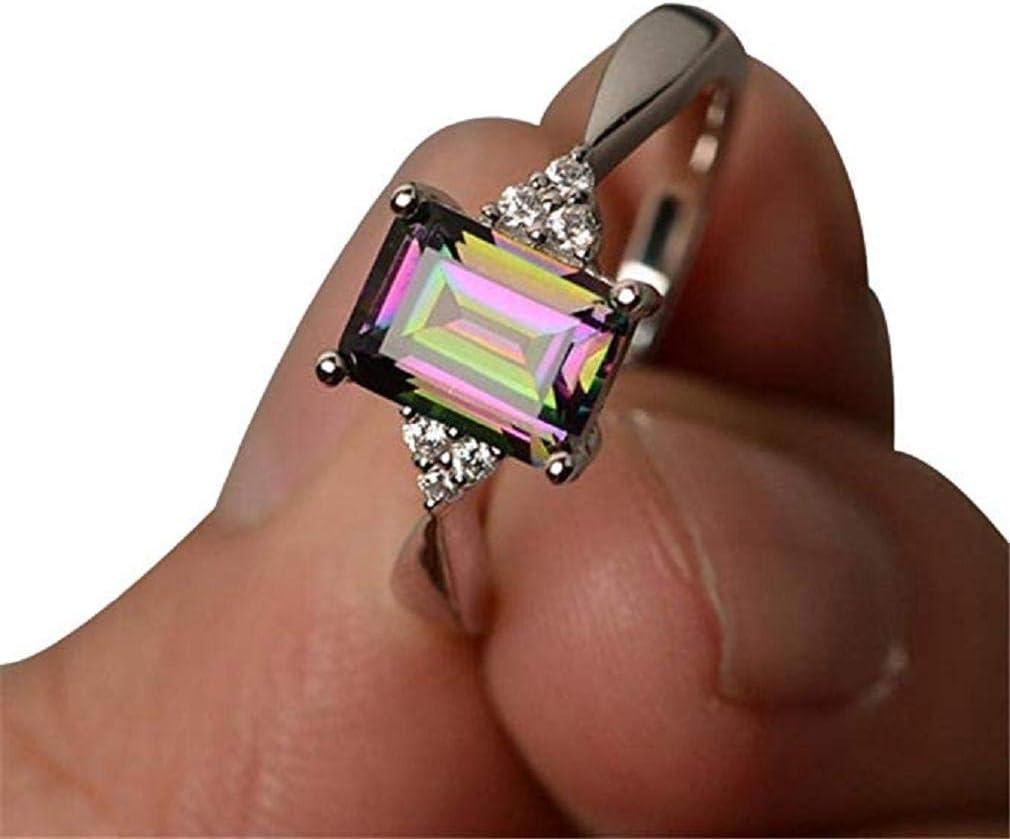 Scpink Anillo de diamantes Mujer,Anillo cuadrado de piedra de colores Piedra Preciosa Natural,aleación Anillo de Compromiso (Multicolor, 6)