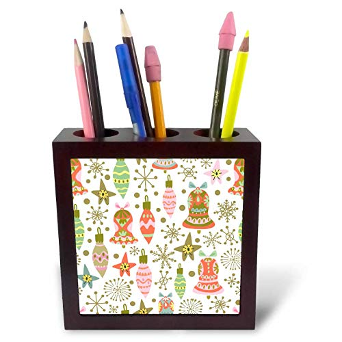 3dRose Anne Marie Baugh - Christmas - Cute Fiesta Christmas Ornaments Pattern - 5 inch Tile Pen Holder (ph_289300_1)