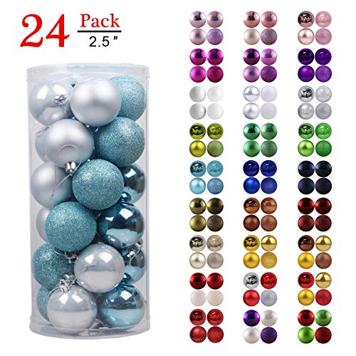 GameXcel Christmas Balls Ornaments for Xmas Tree - Shatterproof Christmas Tree Decorations Large Hanging Ball Sky Blue & Silver 2.5 x 24 Pack