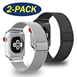 ADWLOF Compatible for Apple Watch Band 42mm 44mm,Stainless Steel Mesh Sport Wristband Loop with Strong Magnetic Closure Strap for iWatch Series 1,2,3,4,Black/Silver