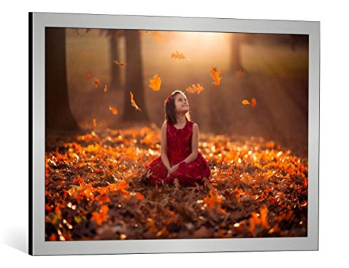 kunst für alle Framed Art Print: Jake Olson Autumn Magic - Decorative Fine Art Poster, Picture with Frame, 33.5x21.7 inch / 85x55 cm, Silver Brushed