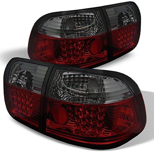 For 1996-1998 Honda Civic 4-Door Sedan JDM Red Smoke 4Pcs LED Tail Brake Lights Left + Right Pair Set