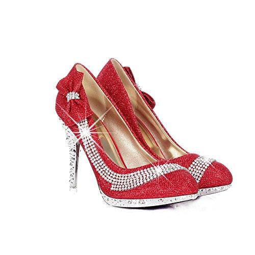 AllhqFashion Mujeres Sólido Tacón de aguja Sin cordones Puntera Redonda De salón con Lazos Rojo