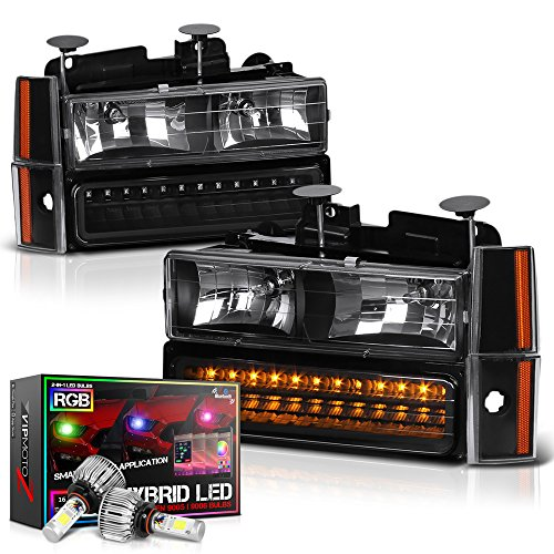 VIPMotoZ 1988-1993 Chevrolet C/K 1500 2500 3500 Pickup Suburban Blazer Headlights - Built In Color Changing RGB LED Low Beam, Matte Black Housing, Driver and Passenger Side