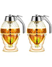 Hojffuue Honey Dispenser, No Drip Syrup Container with Stand, Beautiful Honeycomb Shaped Honey Pot, Syrup Sugar Container, 2 Pack