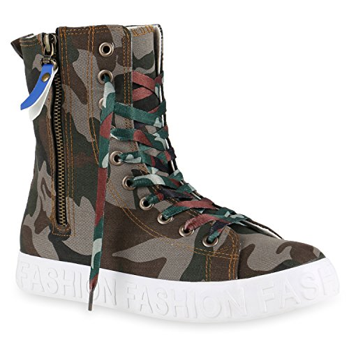 Damen Sneakers High Zipper Camouflage Boots Sneaker Stiefel Denim Schnürstiefeletten Flandell Camouflage Avion