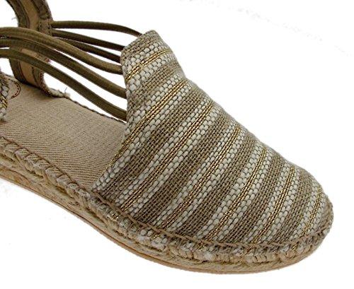 NOA sandalo corda natural taupe oro righe animal free espadrillas