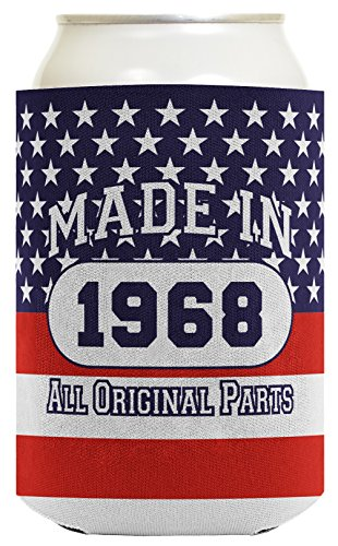 50th Birthday Gift Coolie Made 1968 Can Coolies 2 Pack Can Coolie Drink Coolers Coolies Patriotic by ThisWear (Image #1)'
