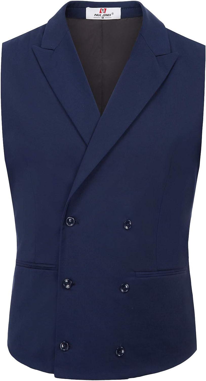 Men's Vintage Vests, Sweater Vests PaulJones Mens Business Sleeveless Lapel Collar 4-Buttons Suit Vest £24.99 AT vintagedancer.com