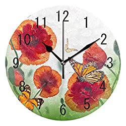 ALAZA Home Decor Red Poppy Flower Butterfly Round Acrylic 9 Inch Wall Clock Non Ticking Silent Clock Art for Living Room Kitchen Bedroom