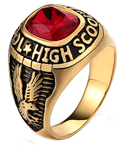 Gnzoe Jewelry- Men's 316L Surgical Steel Ring for Boy Father Class Ring High School Cubic Zirconia Eagle Red Size ()