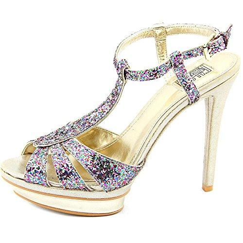 Carlos Falchi Womens Natalie Open Toe Ankle Strap Platform Pumps Multi/Light Gold FSr859W