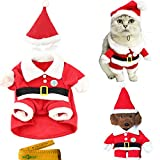 Wiz BBQT Pet Dog Cat Christmas Costume Clothes Santa Claus Suit with a Cap and 2 Hair Clips for Cats Dogs Pets (XXL)