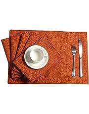 U'Artlines Frame Type Crossweave Woven Vinyl Non-Slip Insulation Placemat Washable Table Mats Set