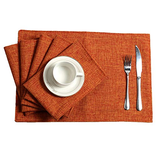 U'Artlines Placemats Set of 6 Slubbed Linen Heat Resistant Non-Slip Dining Table Place Mats for Kitchen Table (Placemats 13x18, Orange) (Orange Table Kitchen)