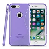 Kit Me Out CAN® Apple iPhone 7 Plus [Shock Absorbing] [Thin Fit] Premium S Line Wave TPU Gel Case Cover Skin Pouch - Purple